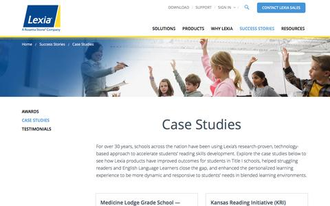 Screenshot of Case Studies Page lexialearning.com - Case Studies | Lexia Learning - captured July 13, 2016