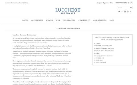 Screenshot of Testimonials Page lucchese.com - Warranty |       |                           Lucchese - since 1883 - captured Feb. 1, 2016