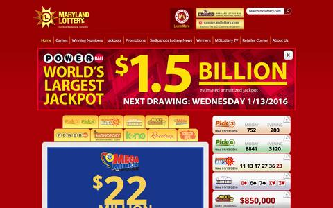 Screenshot of Home Page mdlottery.com - Maryland Lottery - captured Jan. 13, 2016