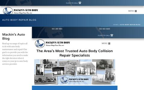 Screenshot of Blog mackinsab.com - Collision Repair | Auto Body Repair | Dent Removal - captured Nov. 12, 2018