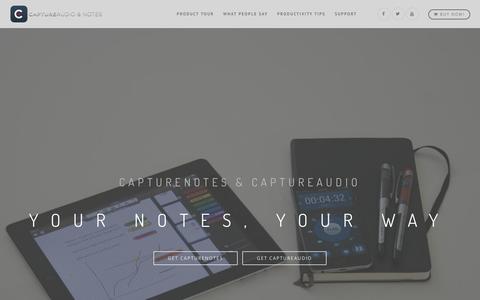 Screenshot of Home Page captureapps.com - Take Notes Better with CaptureNotes & CaptureAudio - captured April 7, 2016