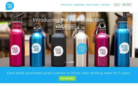 Screenshot of Home Page givemetap.co.uk - Reusable BPA-free water bottle that funds water projects - captured Oct. 19, 2015