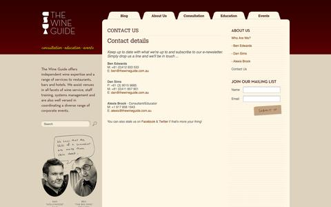 Screenshot of Contact Page thewineguide.com.au - The Wine Guide Blog - About Us - captured Sept. 26, 2014