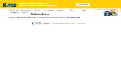 Screenshot of Support Page goacd.com - Calibration Gas - Contact Customer Service - captured Feb. 4, 2016