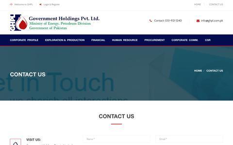 Screenshot of Contact Page ghpl.com.pk - CONTACT US - captured Sept. 25, 2018