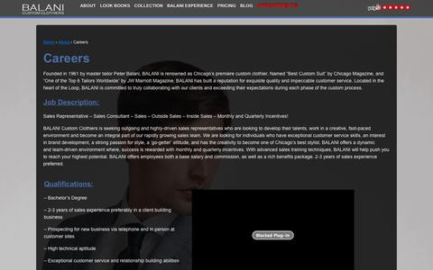 Screenshot of Jobs Page balanicustom.com - BALANI Custom Clothiers | Careers | BALANI Custom Clothiers - captured Nov. 3, 2014