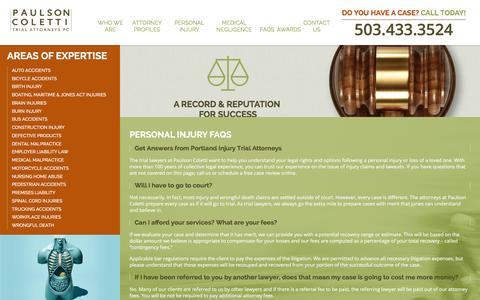 Screenshot of FAQ Page paulsoncoletti.com - FAQs   Personal Injury Lawyers in Portland - captured Jan. 26, 2016