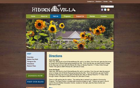 Screenshot of Maps & Directions Page hiddenvilla.org - Directions - captured Oct. 3, 2014