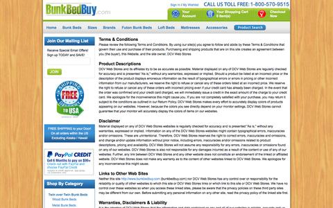 Screenshot of Terms Page bunkbedbuy.com - Terms & Conditions - captured Oct. 5, 2014