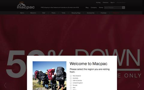 Screenshot of Home Page macpac.com.au - Outdoor Clothing & Equipment Store | Macpac - captured Sept. 19, 2014