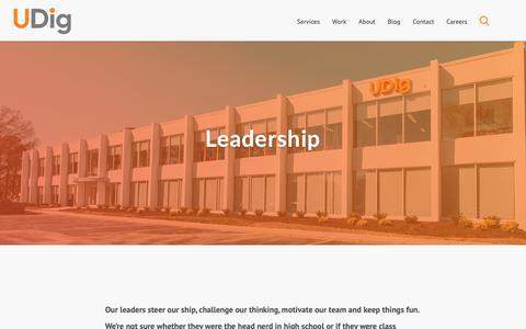 Screenshot of Team Page udig.com - Our Leadership - captured June 20, 2019