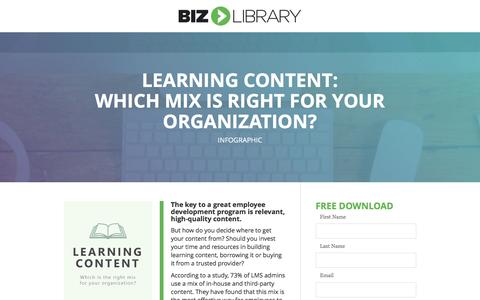 Screenshot of Landing Page bizlibrary.com - Learning Content: Build, Borrow or Buy? [Infographic] - captured Dec. 30, 2016
