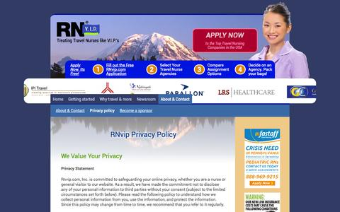 Screenshot of Privacy Page rnvip.com - Privacy Policy  | RNVip Travel Nurse Jobs - captured Oct. 7, 2014