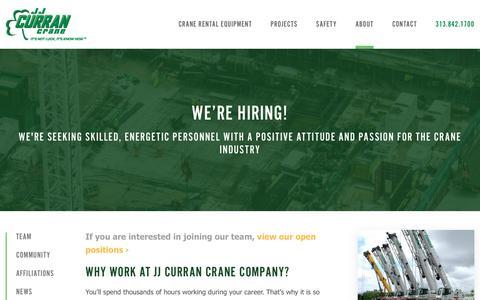 Screenshot of Jobs Page jjcurran.com - Crane Operator Careers - Mechanic Jobs | JJ Curran Crane Company - captured Oct. 1, 2018