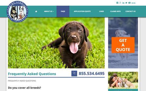 Screenshot of FAQ Page dogbitequote.com - FAQs - Dog Bite Quote - captured Oct. 10, 2018