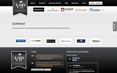 Screenshot of Support Page vipaffiliates.com - Support | VIPaffiliates - captured Sept. 24, 2014