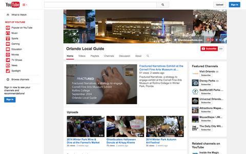 Screenshot of YouTube Page youtube.com - Orlando Local Guide  - YouTube - captured Nov. 3, 2014