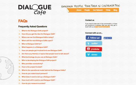 Screenshot of FAQ Page dialoguecafe.org - Dialogue Café | FAQs - captured Aug. 6, 2018
