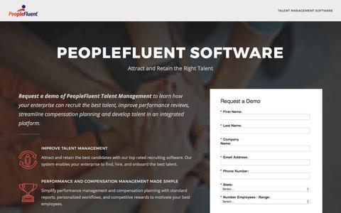 Screenshot of Landing Page peoplefluent.com - Talent Management Software Demo | PeopleFluent - captured Aug. 11, 2017