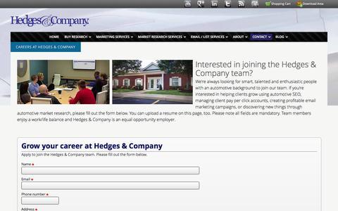 Screenshot of Jobs Page hedgescompany.com - Hedges & Company Careers - Hedges & Company - captured Dec. 9, 2015