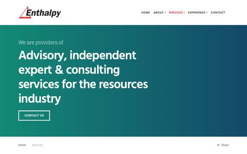 Screenshot of Services Page enthalpy.com.au - Services - Enthalpy - captured Nov. 5, 2018