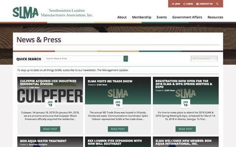 Screenshot of Blog slma.org - Blog -  Southeastern Lumber Manufacturer's Association, Inc. - captured Jan. 20, 2018