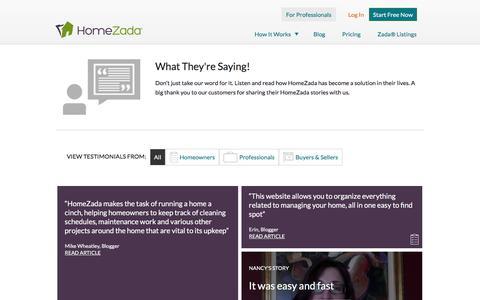 Screenshot of Testimonials Page homezada.com - Testimonials | Home Management Software | HomeZada - captured July 3, 2016