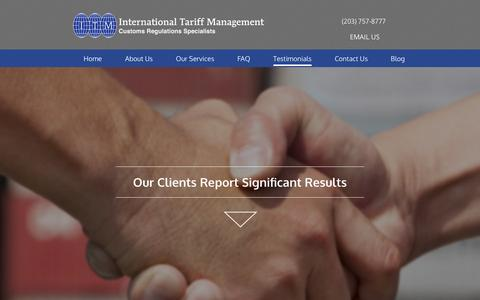 Screenshot of Testimonials Page tariffmanagement.com - Testimonials from our clients - captured Nov. 26, 2016