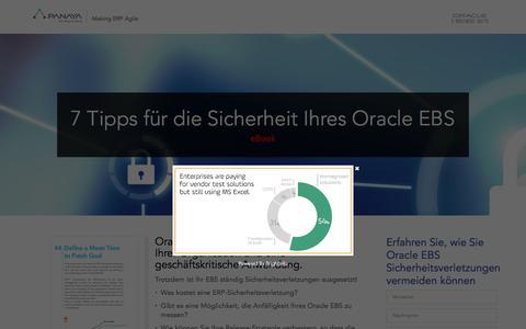 Screenshot of Landing Page panaya.com - 7 Tipps für die Sicherheit Ihres Oracle EBS – eBook - captured Sept. 7, 2017