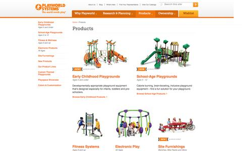 Screenshot of Products Page playworldsystems.com - Play Structure | Playground Equipment for Sale | Playground Equipment Slides - captured Sept. 22, 2014
