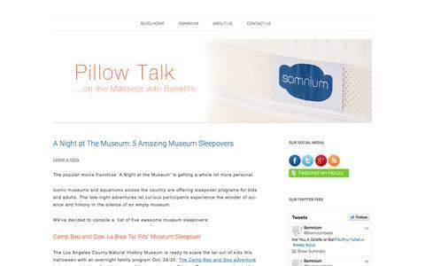 Screenshot of Blog somniumbeds.com - Pillow Talk | Mattress Blog | Somnium Mattress - captured Oct. 7, 2014