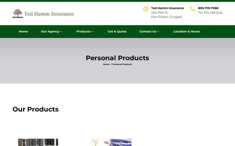 Screenshot of Products Page tedhamminsurance.com - Personal Products - captured Sept. 20, 2018