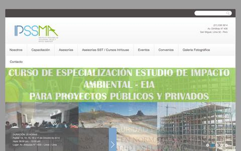Screenshot of Home Page ipssma.com - IPSSMA | Instituto Peruano de Seguridad, Salud y Medio Ambiente - captured Oct. 4, 2014