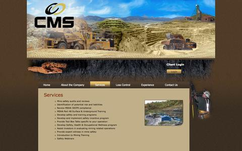 Screenshot of Services Page minesafety-us.com - Central Mine Services - Coal Mine Accident and Injury Prevention - Ohio, South Dakota, California, Virginia, Wyoming - captured Jan. 26, 2016