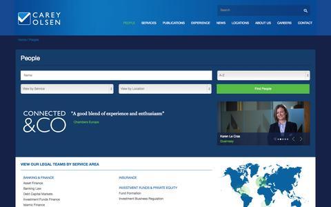 Screenshot of Team Page careyolsen.com - People | Carey Olsen - captured Sept. 29, 2014