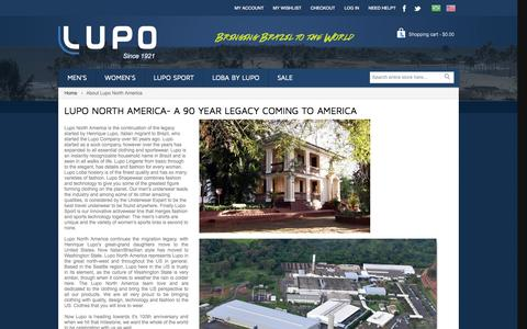 Screenshot of About Page lupostore.com - About Lupo North America - captured Oct. 3, 2014