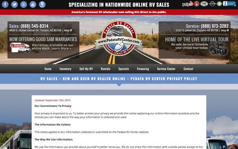 Screenshot of Privacy Page pedatarvcenter.com - RV Sales - New and Used RV Dealer Online - Pedata RV Center Privacy Policy - Pedata RV Center Arizona - captured July 16, 2018