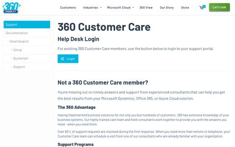 Screenshot of Support Page 360visibility.com - Customer Support - 360 Visibility - captured April 13, 2018