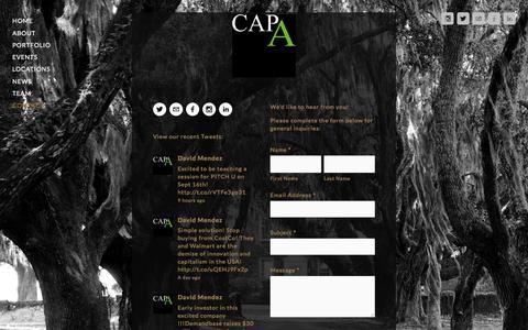 Screenshot of Contact Page capitalapartners.com - Contact — Capital A Partners - captured July 18, 2015