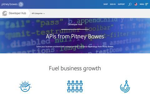 Screenshot of Developers Page pitneybowes.com - Developer Hub   Pitney Bowes - captured Oct. 15, 2016
