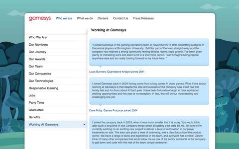 Screenshot of Testimonials Page gamesyscorporate.com - Gamesys: Working at Gamesys - captured Sept. 19, 2014