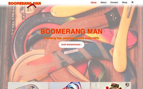 Screenshot of Home Page theboomerangman.com - Home | Boomerang Man - captured Jan. 15, 2017
