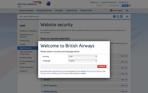 Website security | Legal | British Airways