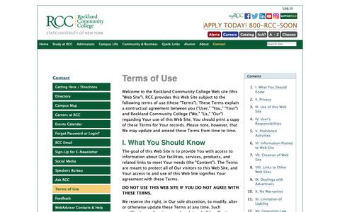 Screenshot of Terms Page sunyrockland.edu - Terms of Use — Rockland Community College - captured Oct. 18, 2018