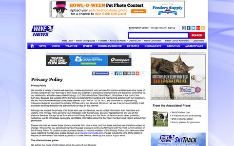 Screenshot of Privacy Page wave3.com - Privacy Policy - wave3.com-Louisville News, Weather & Sports - captured Oct. 25, 2014