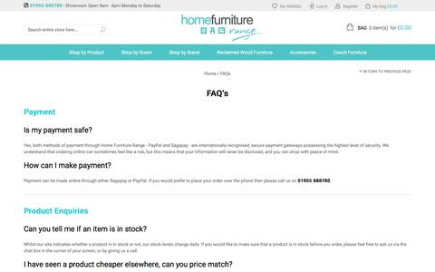 Screenshot of FAQ Page homefurniturerange.co.uk - FAQs - captured May 21, 2017