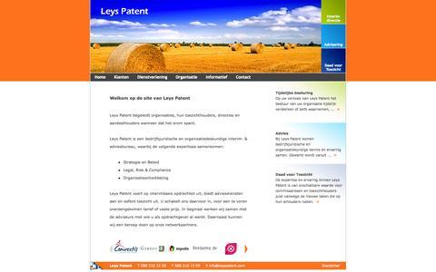 Screenshot of Home Page leyspatent.com - Welkom op de website van Leys Patent - captured Sept. 30, 2014