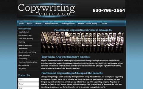 Screenshot of Home Page copywritingchicago.com - Chicago Copywriters | Chicago Copywriting | Content Writing - captured Sept. 30, 2014