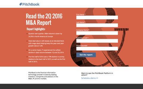 Screenshot of Landing Page pitchbook.com - PitchBook 2Q 2016 M&A Report - captured Aug. 18, 2016