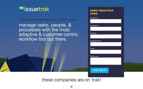 Screenshot of Landing Page issuetrak.com - The only Workflow Management solution you will ever need. - captured Feb. 15, 2016